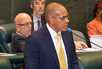 Finance Minister Hon. Marco Archer presents his first budget in the House on Monday, 7 October 2013.