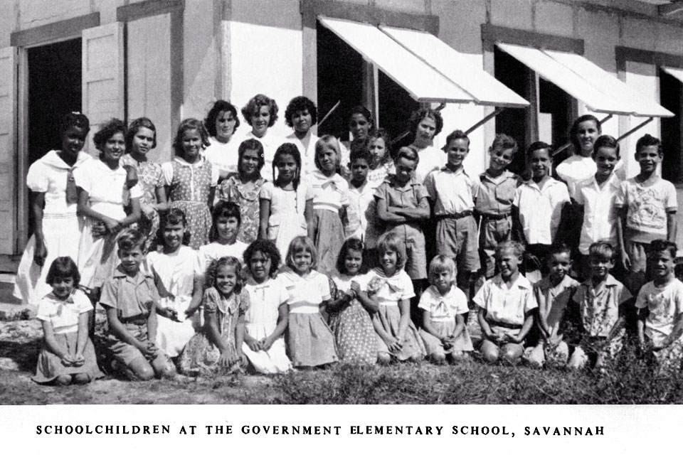 School children at the Government Elementary School in Savannah, 1951. 'Colonial Reports, CINA' and the 'CINA Ref. DI 10379'
