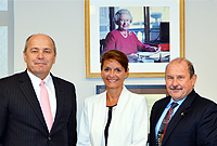 Her Excellency the Governor, Mrs. Helen Kilpatrick, CB, met with Consul General of Switzerland in Atlanta, Mr. Andreas M. Maager (left) and Swiss Honorary Consul in the Cayman Islands, Capt. Peter Schmid. Mr. Maager was on his first official visit to the Cayman Islands.