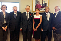 Sir Bernard Rix (centre) was sworn in as a judge of the Cayman Islands Court of Appeal on Monday, 3 November 2014. From left: Ms Audrey Bodden, Registrar of the Court of Appeal; Sir John Chadwick, President of the Court of Appeal; Sir Bernard; Her Excellency the Governor, Helen Kilpatrick; Chief Justice Anthony Smellie and Justice Elliott Mottley, Judge of the Court of Appeal.