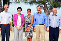 Cayman Islands Governor Helen Kilpatrick (centre) hosted her counterparts from British Overseas Territories at a conference at Government House today (Friday, 27 March 2015). Seen here are (L-r) Governor George Fergusson (Bermuda), Governor Christina Scott (Anguilla), Governor Kilpatrick, Governor John Duncan (British Virgin Islands) and Governor Adrian Davis (Montserrat).