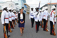 Her Excellency the Governor, Helen Kilpatrick inspects a police guard of honour prior to delivering the Throne Speech.