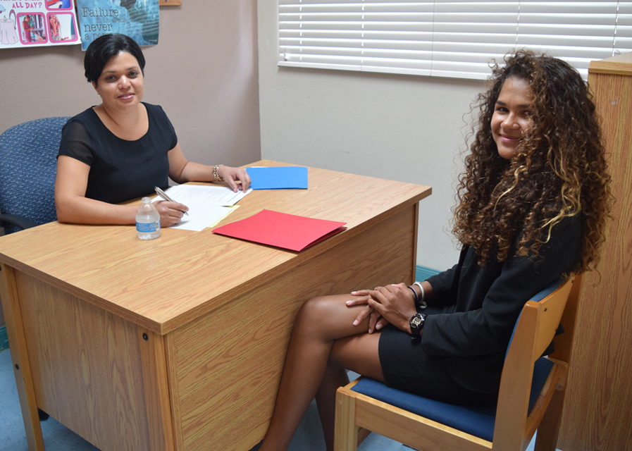 Jordana Clarke, head of training and development at Walkers. law firm interviews student Allena Rankine.