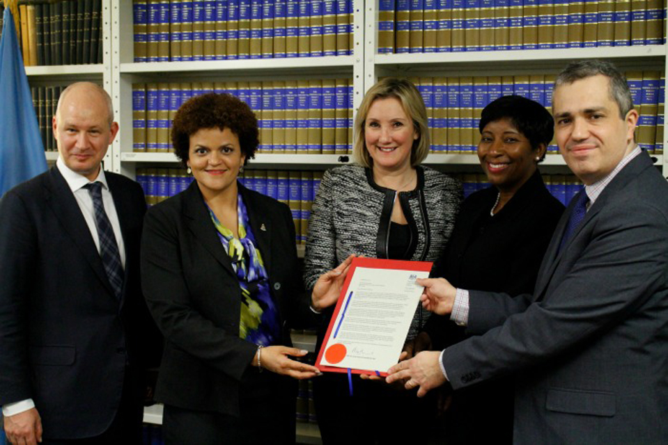 L-R: Ambassador Peter Wilson, Deputy Permanent Representative of the U.K. to the U.N; Minister Rivers; UK Minister of Gender and Equalities, Caroline Dinenage; Anguillan Minister for Gender Affairs, Cora Richardson-Hodge; Chief of the UN Treaty Section, Santiago Villalpando.