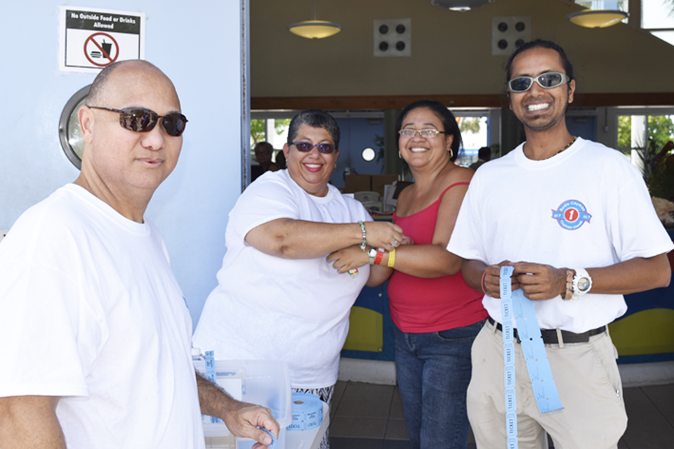Radio Cayman's Sterling Ebanks, Paulette Connolly and Raymond Singh welcome guests