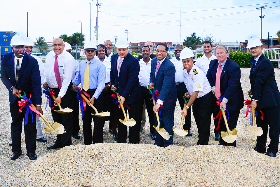 Dignitaries led by the Premier, Hon. Alden McLaughlin, break ground for a new $1.3 million Customs facility. It will house the department's mobile x-ray scanner, which has been in use since early 2012, but exposed to the elements.
