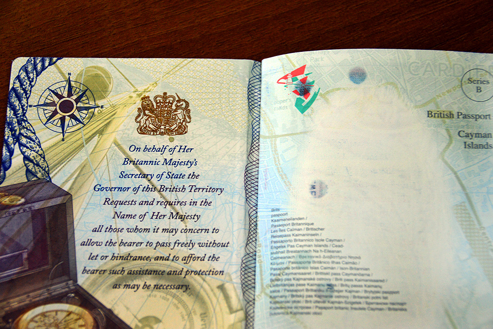A view of the inside front cover and first page of the newly designed CI passport