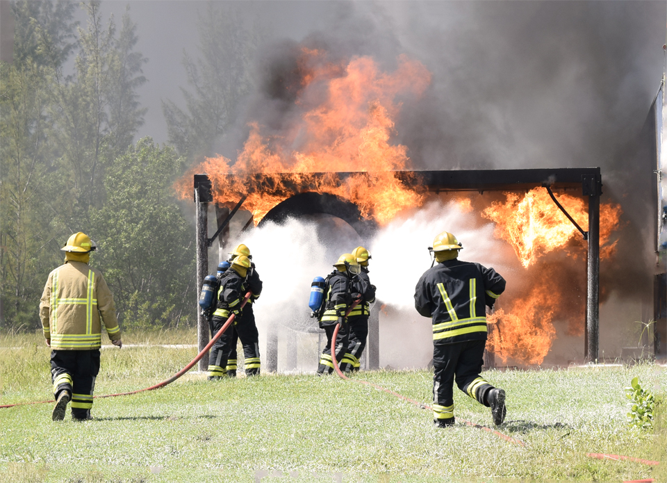 Firefighters put their skills to the test during intense aviation fire training.