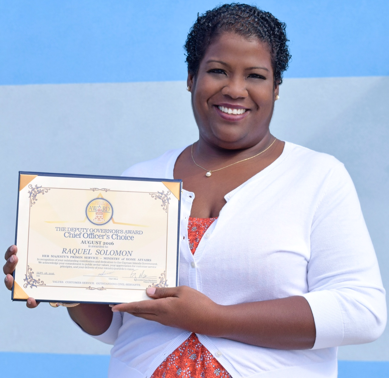 Human Resource Manager Raquel Solomon received the award on Friday.