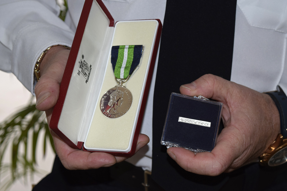Officers from the uniformed services received the Overseas Territories Long Service Medal.