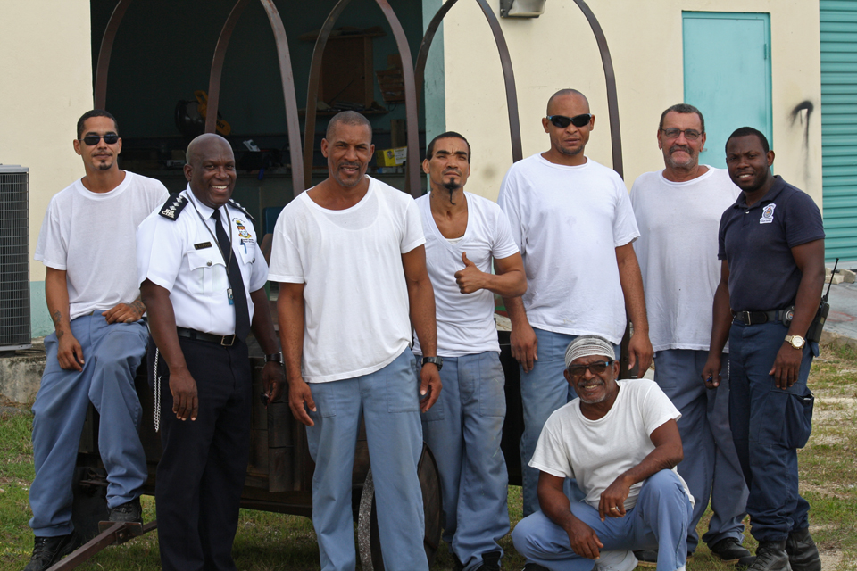Inmates with Prison Service put their carpentry skills to work, building a wagon for Pirates Week Parade.