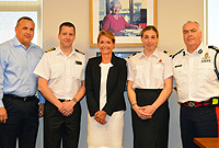 Her Excellency the Governor, Helen Kilpatrick met this morning (Wednesday, 7 December 2016) with officers of the UK Maritime and Coastguard Agency who are in the Cayman Islands to begin a review of search and rescue capability. Seen here are: l-r: Deputy Governor Hon. Franz Manderson, National Maritime Operations Commander Phil Bostock, the Governor, MCA International Projects Coordinator Naomi Davies and Commissioner of Police Derek Byrne.