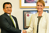 Her Excellency the Governor, Helen Kilpatrick, greets His Excellency the High Commissioner of India, Mr. Sevala Naik when he called on her on Monday, 9 January 2017.