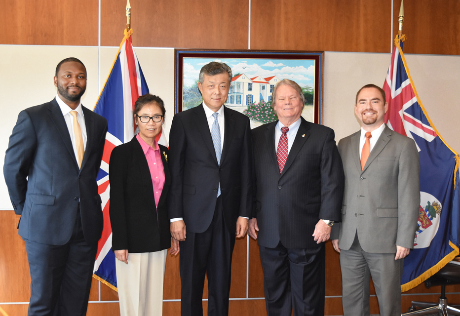 L-r Cabinet Secretary Samuel Rose, Ambassador's wife Madam Hu Pinghua, Chinese Ambassador Liu Xiaoming, Acting Premier Hon. Moses Kirkconnell, Chief Officer for District Administration, Tourism and Transport Stran Bodden.