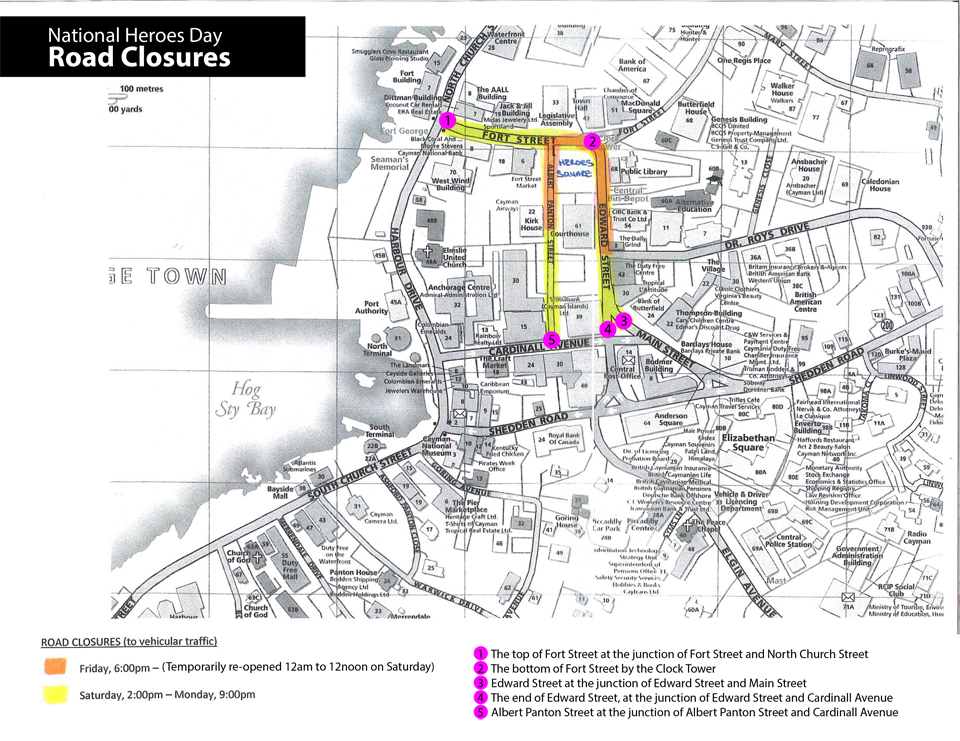 Due to the ceremony, the following roads will be closed.