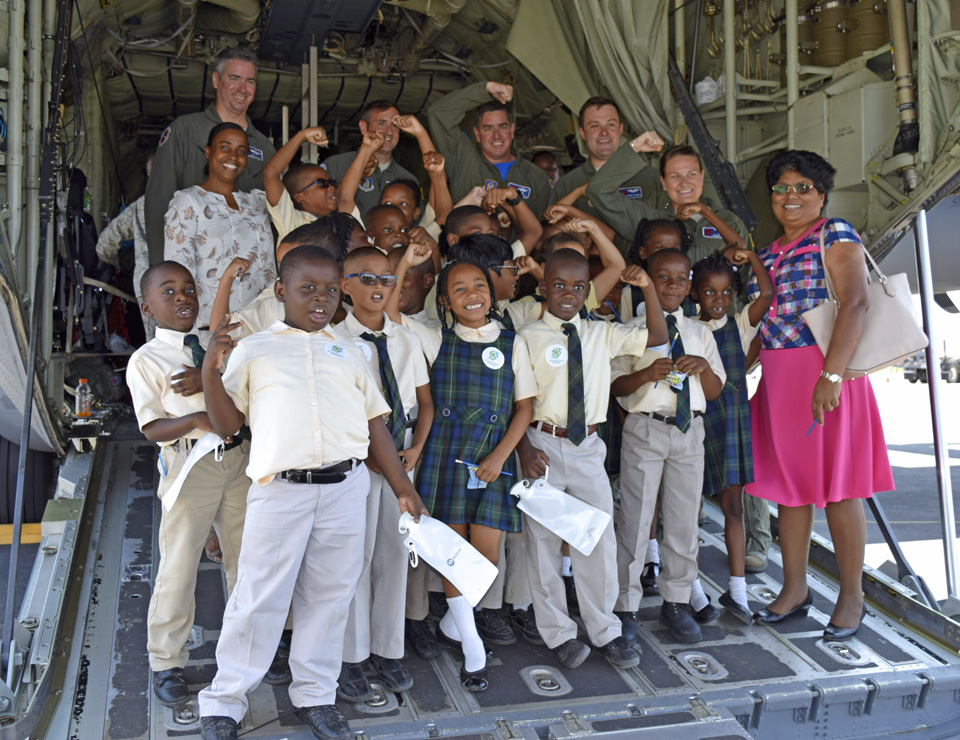 Around 1,000 school students and members of the public toured the aircraft and met the crew.