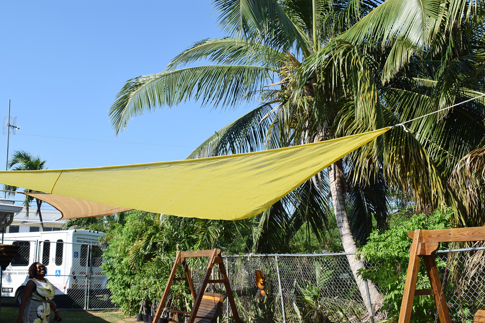The sensory garden includes wind chimes, bird feeders repaired swinging benches and sail shades