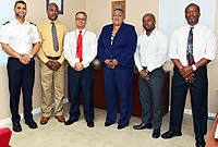 L-r: CI Deputy Collector, Mr. Jeff Jackson, TCI Customs Officer Alton Scott, CI Collector of Customs, Mr. Charles Clifford, TCI Assistant Collector of Enforcement, Ms June Harry, Senior Customs Officer, Mr. Gregston Been and CI Deputy Collector, Mr. Marlon Bodden