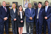 L-r: Caymanian Bar Association's Mr. Neil Timms, QC, Walkers Ms Caroline Heal, First Judicial Clerkship recipient, Ms Erin Panton, Chief Justice Hon. Anthony Smellie, Judicial Clerkship's Supervising Judge, Hon. Richard Williams and Caymanian Bar Association's Mr. Erik Bodden