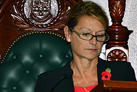 Her Excellency the Governor, Helen Kilpatrick delivers the Throne Speech.
