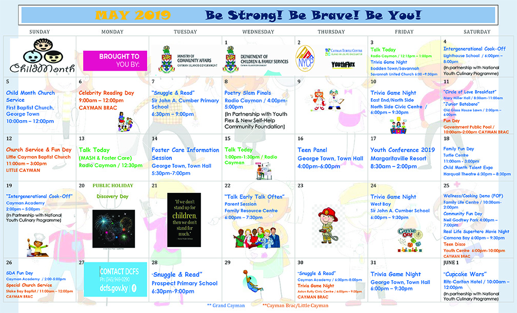 DCFS Schedule of Child Month Events throughout May.