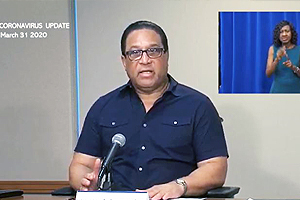 Premier Hon. Alden McLaughlin provides updates at the COVID-19 press conference on Tuesday, 31 March 2020.