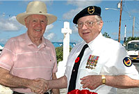 Visiting veteran Capt Bob Long (L) meets Capt Dale Banks.