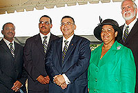Cabinet Ministers: (L-R) the Hon Mark Scotland, the Hon Rolston Anglin, the Hon McKeeva Bush OBE, the Hon. Juliana O'Connor-Connolly and the Hon. Mike Adam MBE.