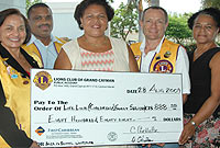 Lions Club of Grand Cayman members present a cheque to Department of Children and Family Services (DCFS) staff, to purchase school uniforms. (Left-Right) Club President Deborah Ebanks; First Vice-President Donnel O'Sullivan; DCFS Director Deanna Look Loy, and Club Third Vice-President Ian Callow.