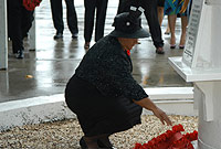 The Deputy Premier the Hon. Juliana O'Connor-Connolly lays a wreath at the Seaman's Memorial.