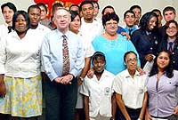 Local patron, HE the Governor, Mr. Stuart Jack and local executive committee head Mrs. Katherine Jackson with Duke of Edinburgh awardees.