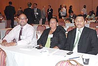 A Cayman team recently attended the Caribbean Renewable Energy Forum in Montego Bay, (L-R) Electricity Regulatory Authority Managing Director Phil Thomas, Deputy Premier and Minister of District Administration Works and Gender Affairs, the Hon. Juliana O'Connor-Connolly, JP; and MLA Cline Glidden.