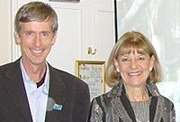 Fred Burton with Mary Chandler-Allen, acting representative, CI London Office.
