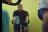 A spinning class helps you  get in shape.