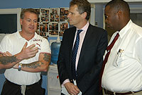 His Excellency the Governor Mr. Duncan Taylor, CBE visited the gym during his Northward Prison tour on Thursday (21 January). (L-R) Gym instructor Steven Hansen; His Excellency the Governor and Prison Director Dwight Scott.