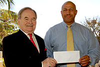 Former Governor Mr. John Owen and Chairman of the Cayman Islands Island Games Association Mr. Richard Parchment
