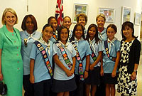 Mrs. Emma Dinwiddy (left) and Mrs. Mariko Jack (right) with the Cayman Islands Guides.