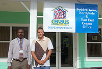 Adolphus, Jason: Census Area Coordinator Adolphus Laidlow (left) and Heritage Holdings Sales and Marketing Manager Jason Alberga in front of the Census Eastern Districts Office in Countryside Village shopping centre, Savannah.