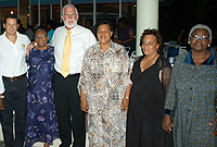 Seniors pose with officials at the Older Persons Month Retreat reception at the Ramada Grand Caymanian Resort. (L-R) Rotary Sunrise representative Kim Remizowski; senior Gloria Taylor; Minister of Community Affairs, Gender and Housing the Hon. Mike Adam, MBE; Department of Children and Family Services Director Deanna Look Loy; Ministry Chief Officer Dorine Whittaker and senior Monica Nelson.