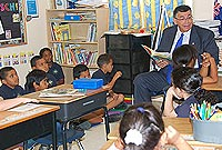 The Premier the Hon. W. McKeeva Bush, OBE, JP, enjoys reading
