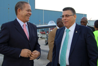 The Hon. Premier McKeeva Bush met Jamaica's Prime Minister the Hon. Bruce Golding as he arrived in Grand Cayman on Friday, 17 December 2010.