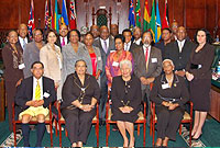 The Speaker, Hon. Mary Lawrence, MBE, JP (seated third from left), Clerk of the LA Zena Merren-Chin (standing, first right) with participants of the CPA's 15th Biennial Speakers, Presiding Officers and Clerks Conference.