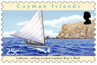 One of the 25¢ stamps entitled Catboats: Sailing around the Bluff.
