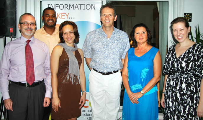 (L-R) Deputy Information Commissioner, Jan Liebaers; Intake Analyst Sonji Myles; Office Manager Christina Smith;  His Excellency the Governor Duncan Taylor, CBE, and Registrar of Hearings Pasha Delahunty.