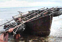 This boat, carrying 19 Cubans, ran aground off Cayman Brac on 7 October.