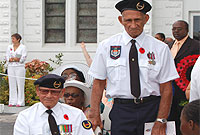 Two of Cayman's war veterans at a previous Remembrance Day Ceremony.