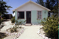 A home beautifully decorated with traditional white sand and conch shells for the Christmas season.