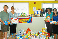 L-R: Curves owners Robert Musselwhite and wife Diane donate bags of food to FRC Programme Coordinator Miriam Foster and staff member Charmaine Miller.