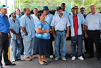 Deputy Premier and Minister of District Administration, Works, Land and Agriculture, the Hon. Julianna O'Connor Connolly (front centre), with District Commissioner, Mr. Ernie Scott and Cayman Brac (front, first right), Ministry, District Administration and Public Works Department staff during the hurricane drill