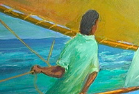 A vignette of Cayman's maritime heritage captured on canvas